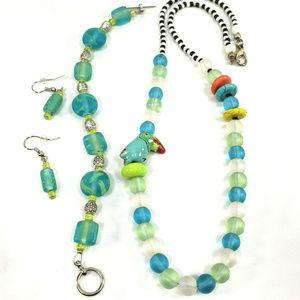 Tucan Blue Glass Beads Necklace Bracelet Earrings